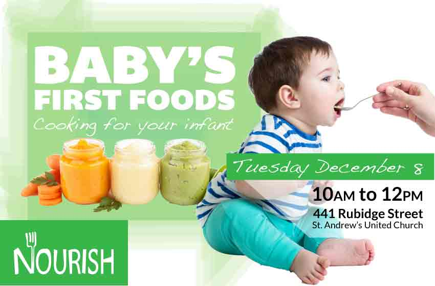 Workshop poster with picture of baby and prepared baby foods with workshop information (repeated below)