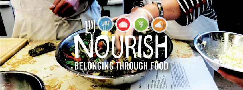 "Nourish Logo with text that reads: ""Belonging through Food"""