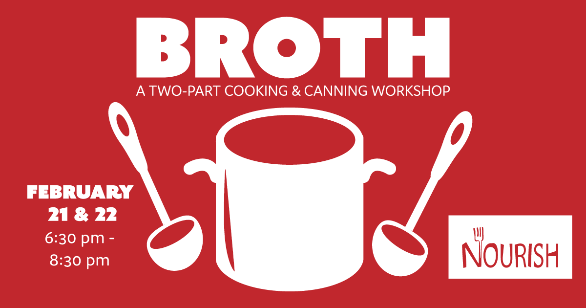 Event poster for broth featuring illustration of pot and labels. Text repeated below