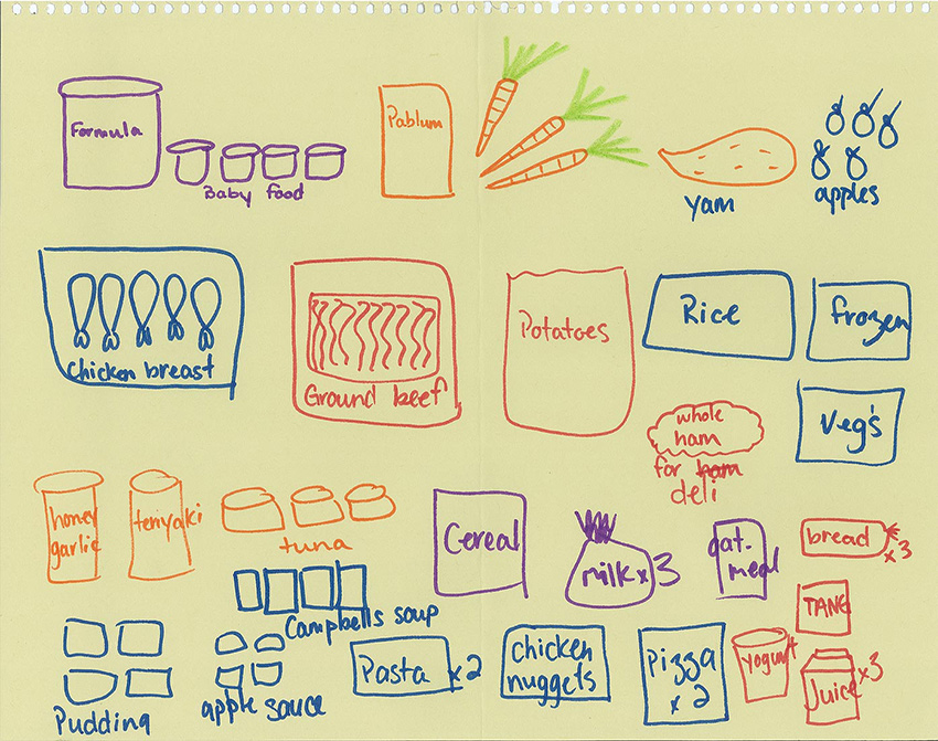 another drawing of food by another participant in the study.
