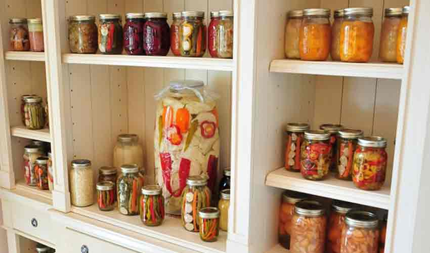 Shelf with assorted home-canned goods