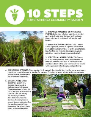 Front page of document '10 steps for starting a community garden