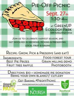 Poster advertising event with picture of slice of cherry pie over a checkered background. Text reads: Pie Off Picnic. Sept. 27th 1:30 to 4pm at GreenUP Ecology Park.