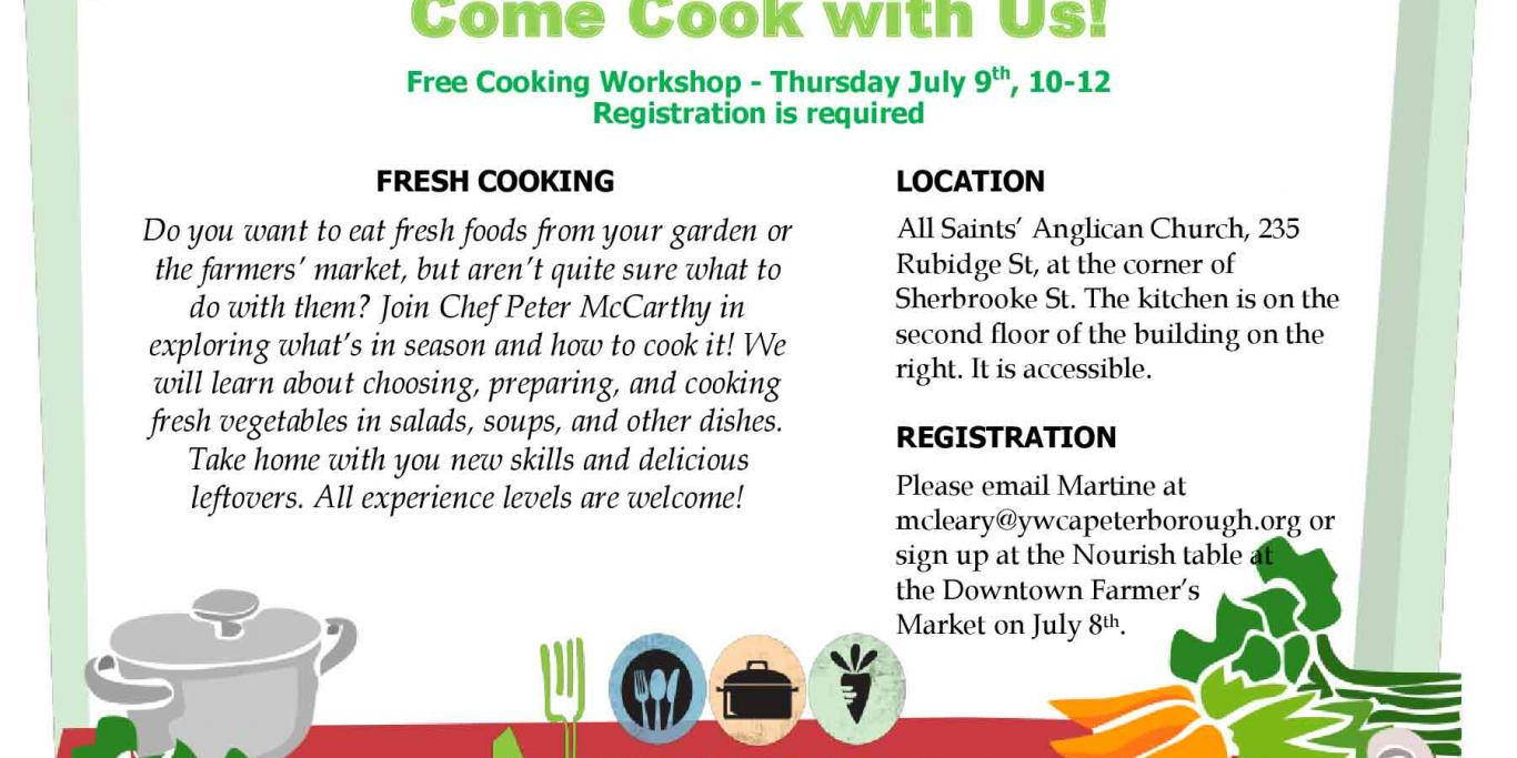 Poster for Nourish Come Cook with Us - July 9, 2015
