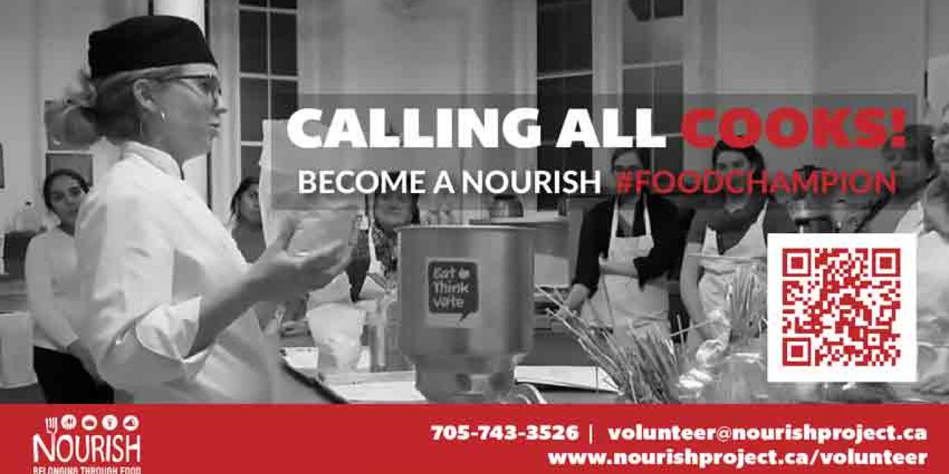 Image announcing recruitment drive for Nourish Cooking Classes