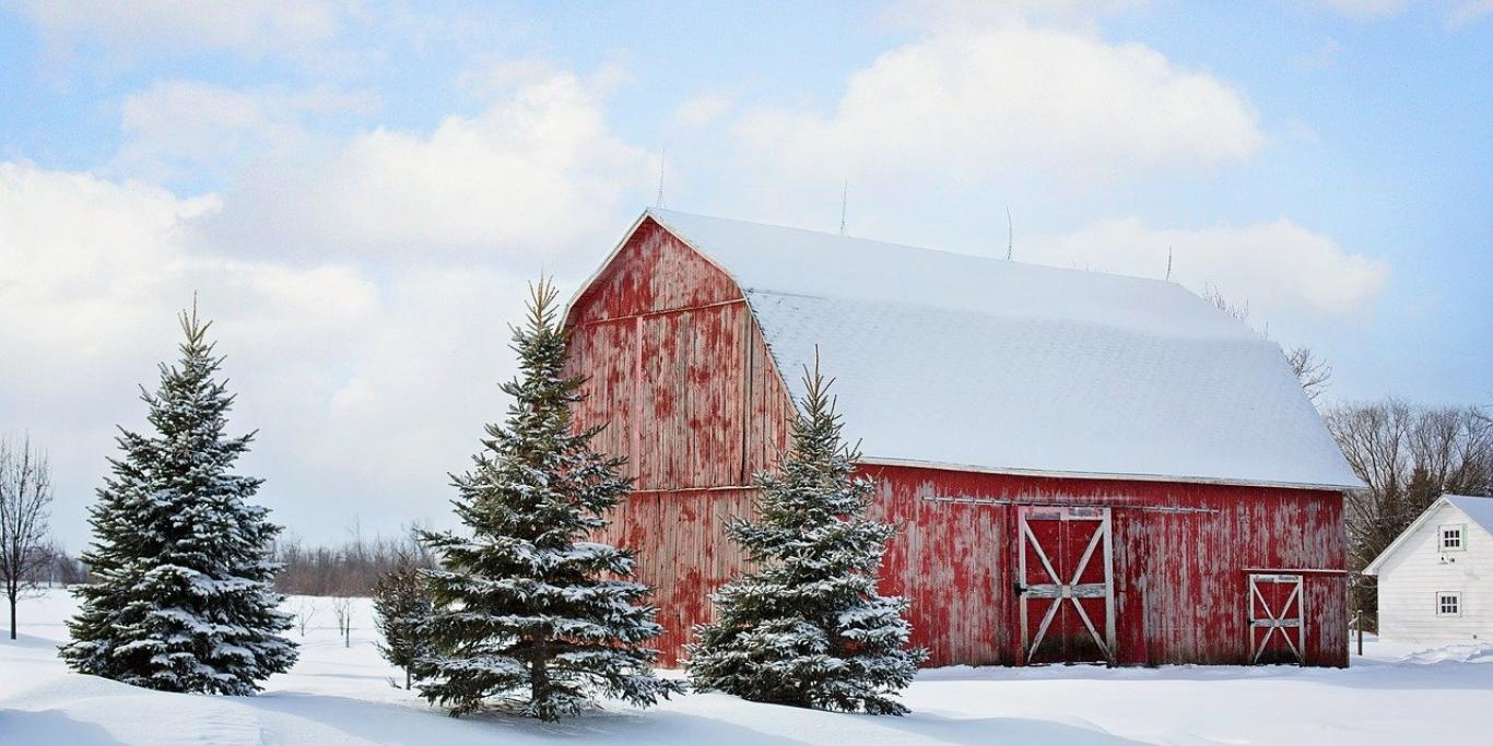 A red barn in winter