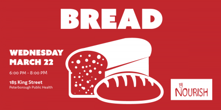 Bread workshop banner featuring illustration of loaves of bread on red background