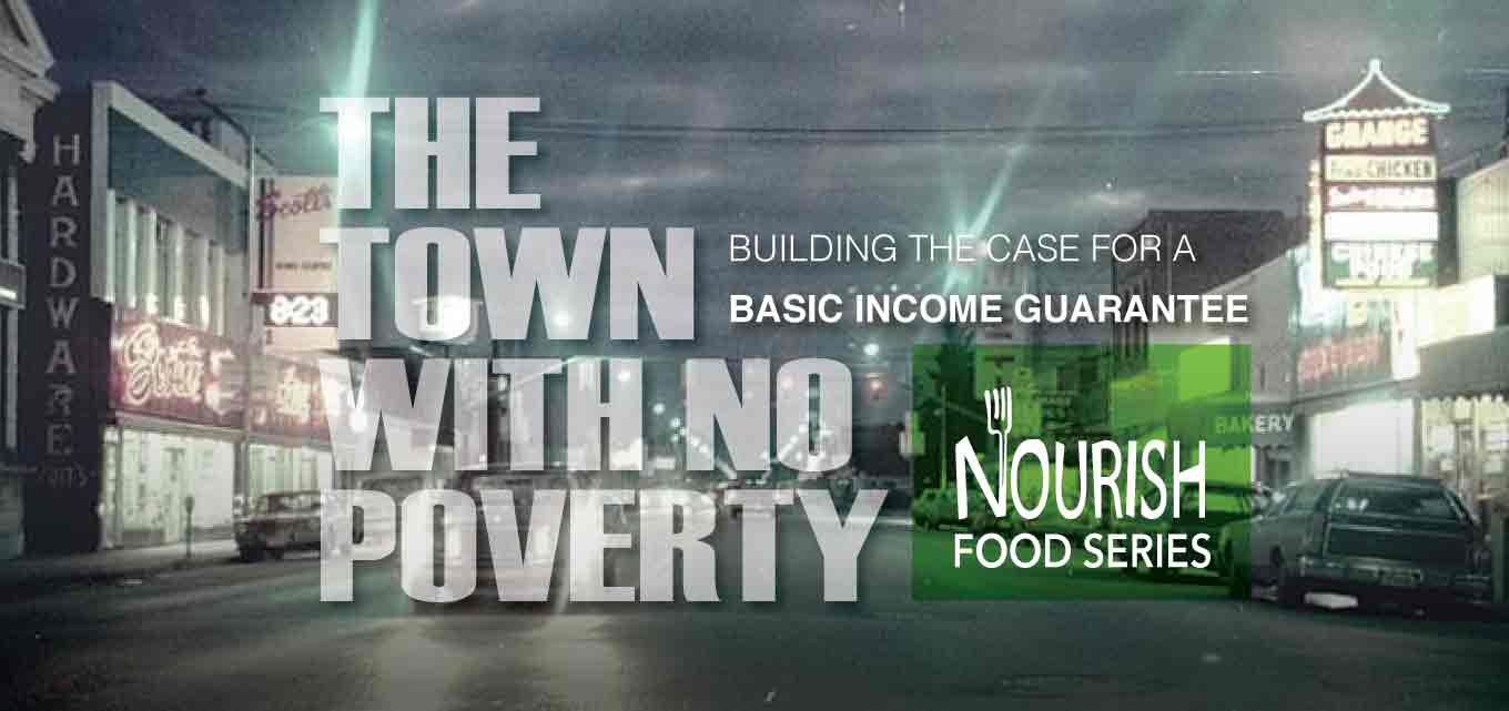 Event poster with 'The Town With No Poverty'. Text repeated below.