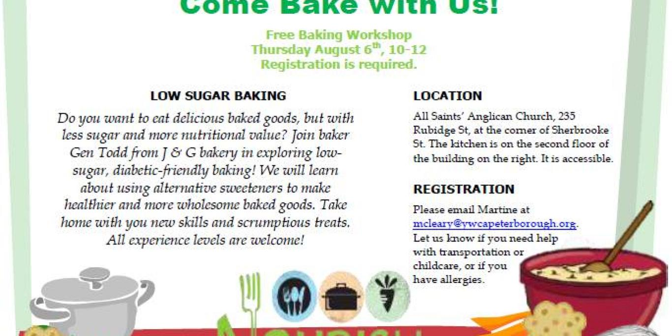 Low Sugar Baking workshop event poster