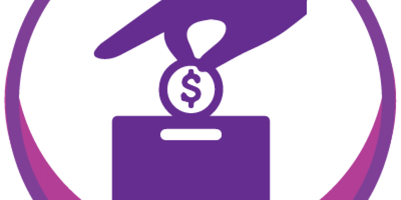 Graphic of hand putting money in a donation box