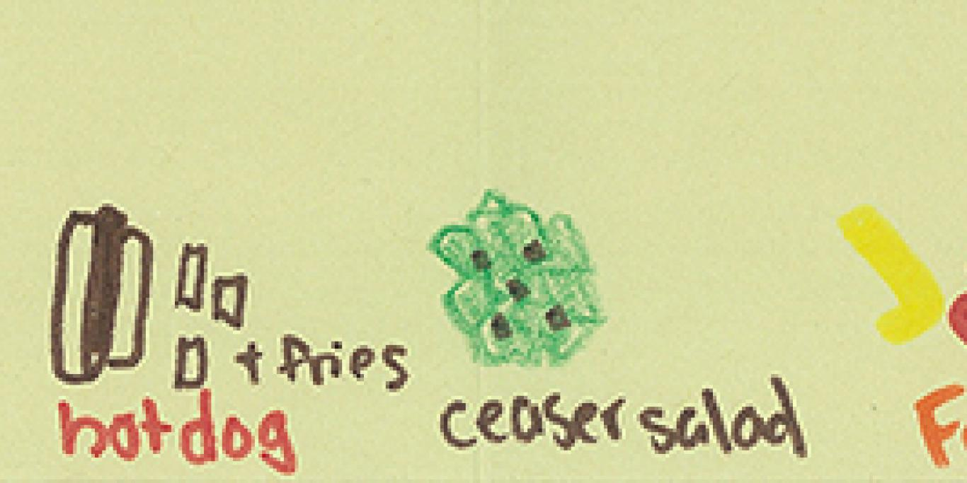 a drawing of food from one participant in the study