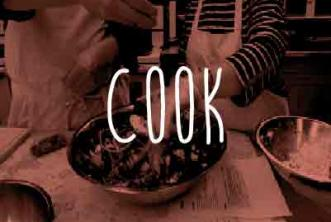Image of people making salad with red overlay. Text reads: COOK